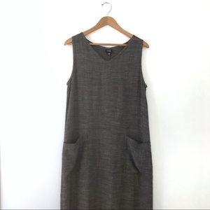 Eileen Fisher Midi Linen V-neck Sleeveless Dress